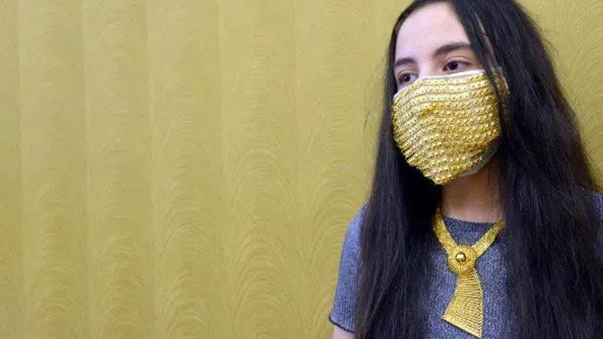14 bin liraya altın işlemeli maske!