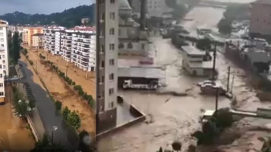 Rize'de şiddetli yağışlar hayatı felç etti!