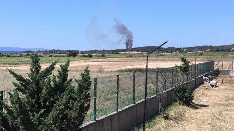 Saros'ta tartışmalı bölgede orman yangını çıktı