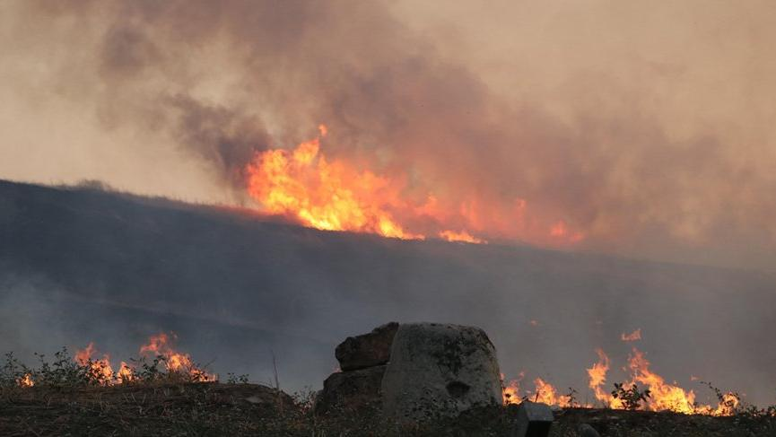 Laodikya antik kentinde çıkan yangın korkuttu!