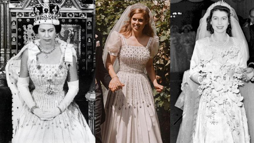 Prenses Beatrice, düğününde büyükannesi Kraliçe Elizabeth'in elbisesini giydi