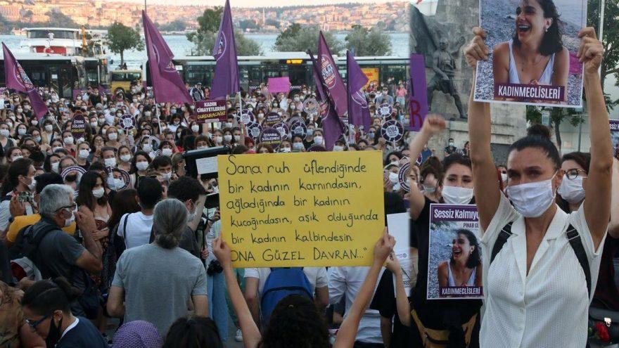 İstanbul'da Pınar Gültekin eylemi! Ünlüler de katıldı