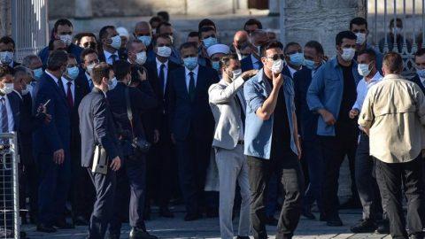 Erdoğan ve Bahçeli Ayasofya'da incelemelerde bulundu