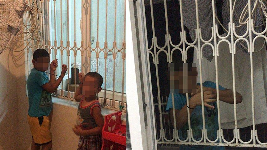 Alacağı için çocukları kaçırıp, plastik kelepçeyle pencere demirine bağladı
