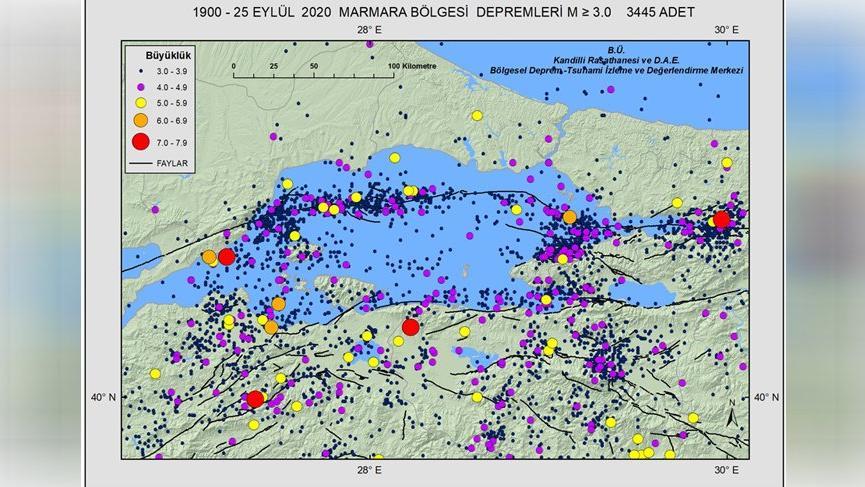 Kandilli: 120 yılda Marmara Bölgesi'nde 3'ten büyük 3 bin 445 deprem kaydedildi