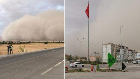Konya'da korkutan toz fırtınası! Yarım saat sürdü, ilçe karanlığa gömüldü