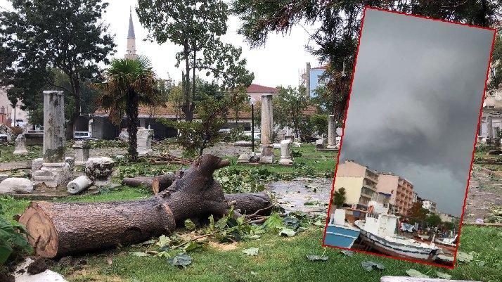 Tekirdağ'ı hortum vurdu: Ağaçları devirdi, çatıları uçurdu