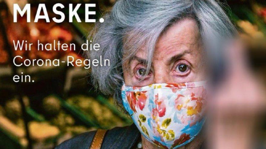 Berlin'de şaşırtan 'maske tak' reklamı
