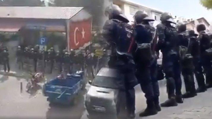 Ermenek'te madencilere polis ablukası