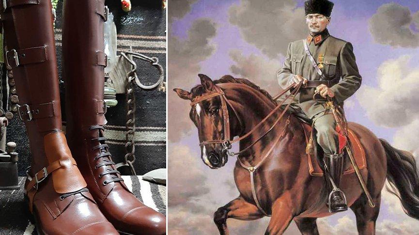 Aydınlı usta Atatürk'ün de giydiği çizmenin benzerini yaptı
