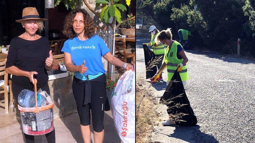 Sertab Erener Bodrum'da çöp topladı
