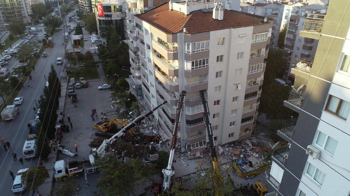 Yan yatan bina vinçlerle desteklendi, kurtarma çalışması yapıldı