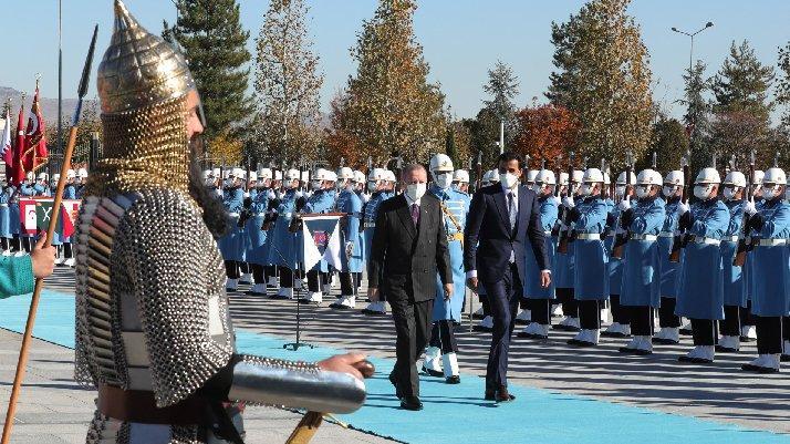 Cumhurbaşkanı Erdoğan, Katar Emiri Al Sani'yi resmi törenle karşıladı