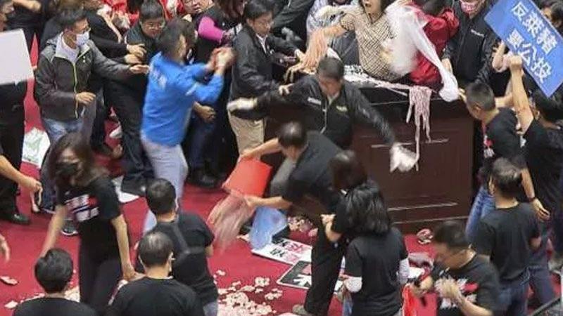 Tayvan'da şok olay! Milletvekilleri birbirine bağırsak fırlattı