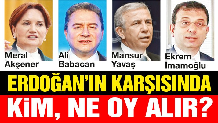 Erdoğan'ın karşısında kim, ne oy alır?