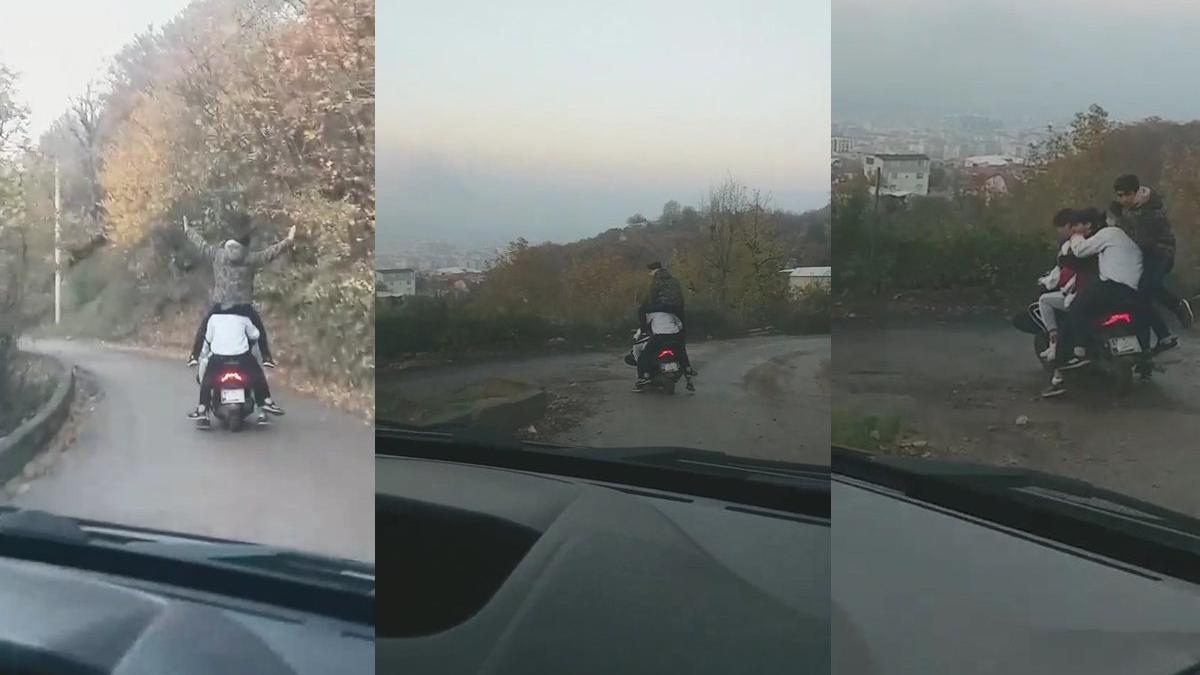 Sokağa çıkma kısıtlamasını 1 motosiklete 6 kişi binerek deldiler