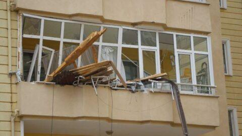 Fırtınada çatılar uçtu, metruk binanın duvarı yıkıldı