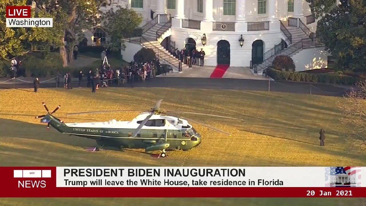Ve bir dönemin sonu geldi... Trump Beyaz Saray'dan son kez çıktı