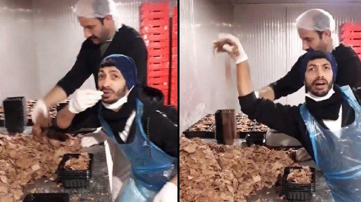 Hazır döner paketleyen iki çalışanın videosu tepki çekti