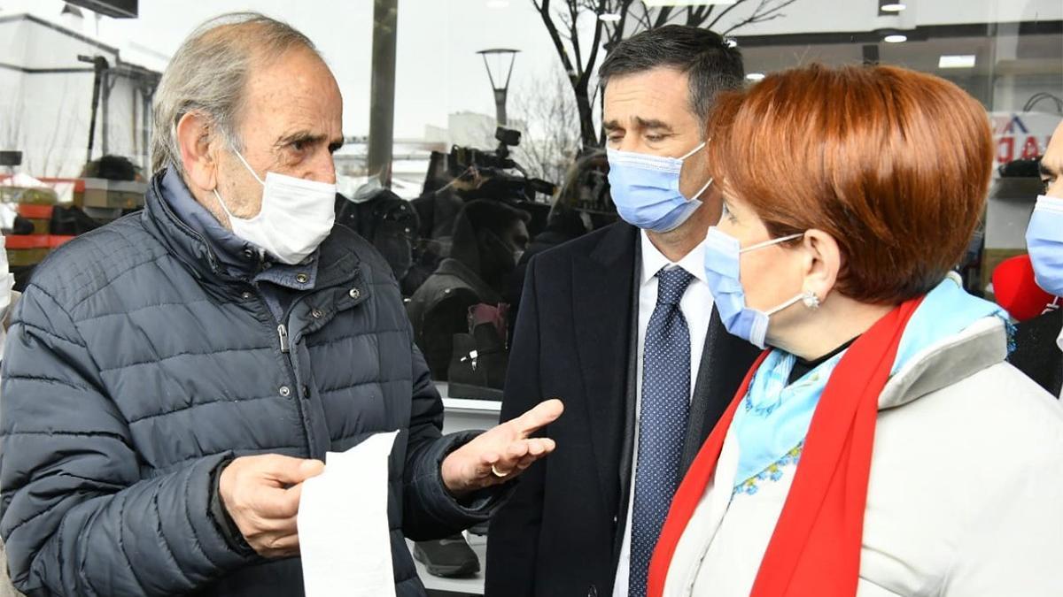 Pazar artığıyla beslendiğini söyleyen vatandaş Akşener'e dert yandı