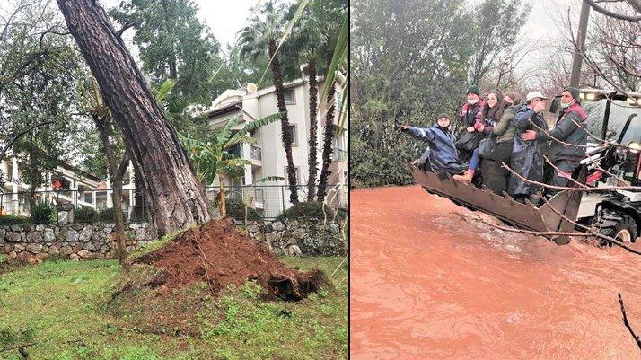 Muğla'da fırtına ağaçları söktü ve vatandaşlar selde mahsur kaldı