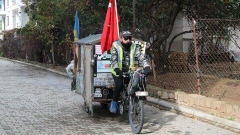 Bisikletini evi yaptı, 6 yıldır dünyayı geziyor