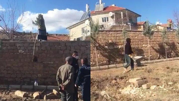 Nevşehir'de parkta ağaç diken belediye görevlilerine taşlı saldırı