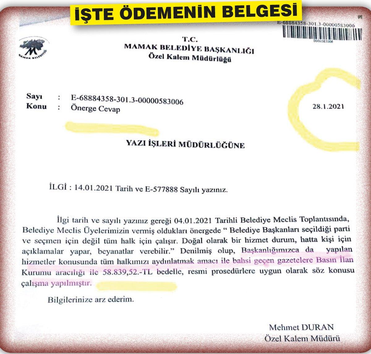 """AKP'li Murat Köse'nin Özel Kalemi Mehmet Duran, 59 bin TL'lik ilanın """"Halkı aydınlatmak"""" için verildiğini söyledi."""