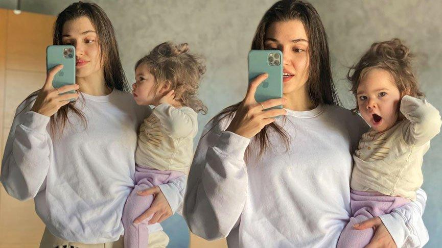 Yeğeniyle fotoğraflarını paylaşan Hande Erçel'e beğeni yağdı
