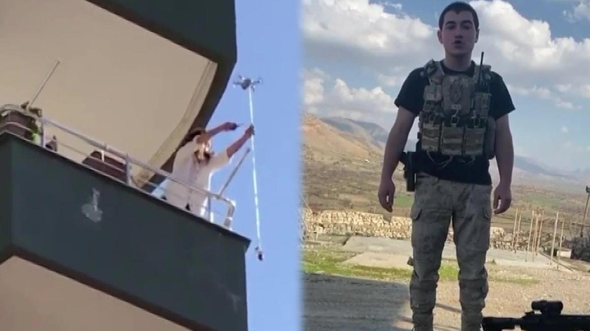 Bin 400 kilometre uzaktaki asker, eşine drone ile gül gönderdi