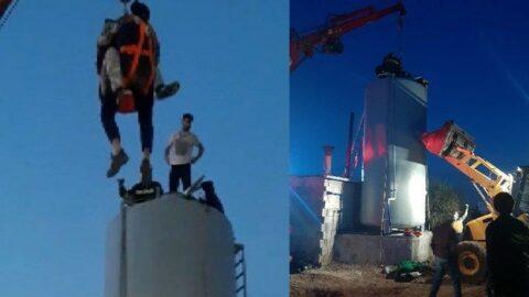 10 metrelik su kulesinde 15 saat mahsur kaldılar