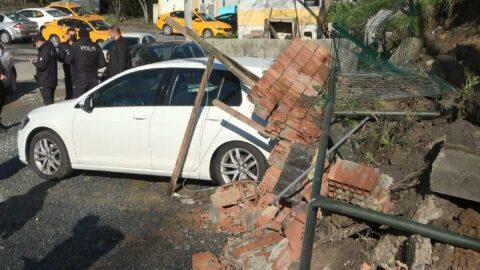 İstanbul'da istinat duvarı çöktü