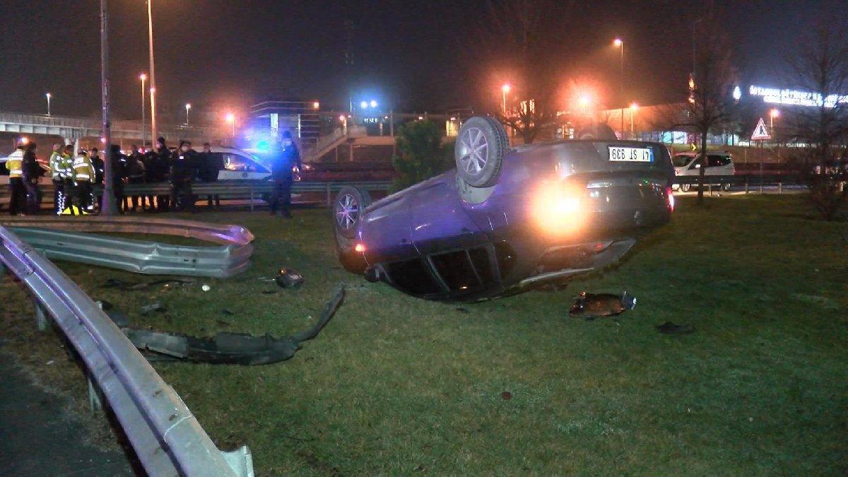 Polis denetiminden kaçan otomobil takla attı