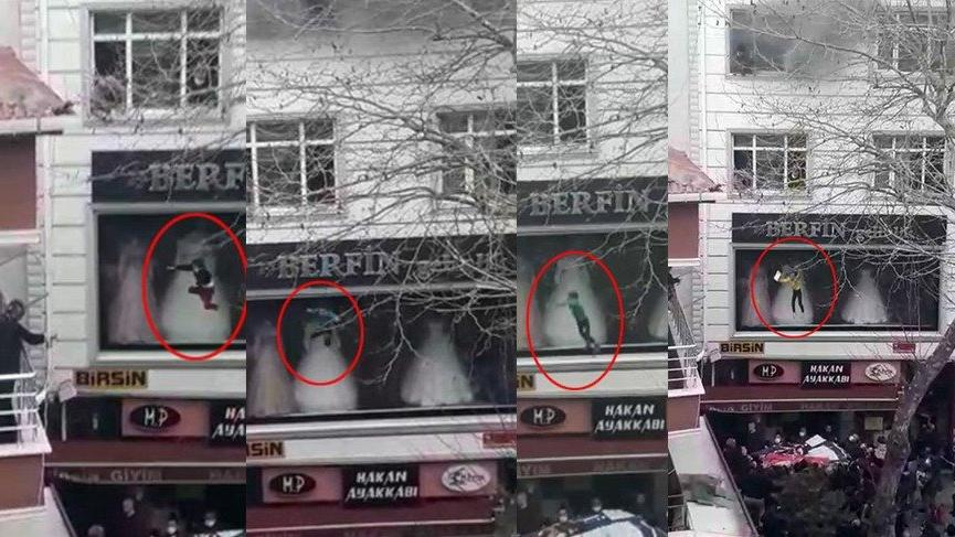 Yangında can pazarı: Küçük çocuk battaniyeye atılarak kurtarıldı