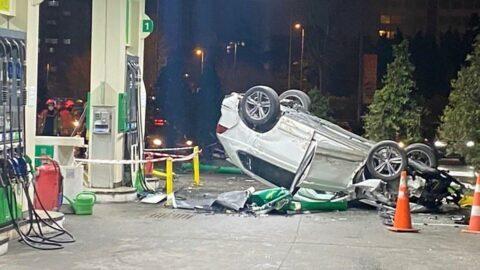 Kontrolden çıkan cip benzin istasyonuna daldı
