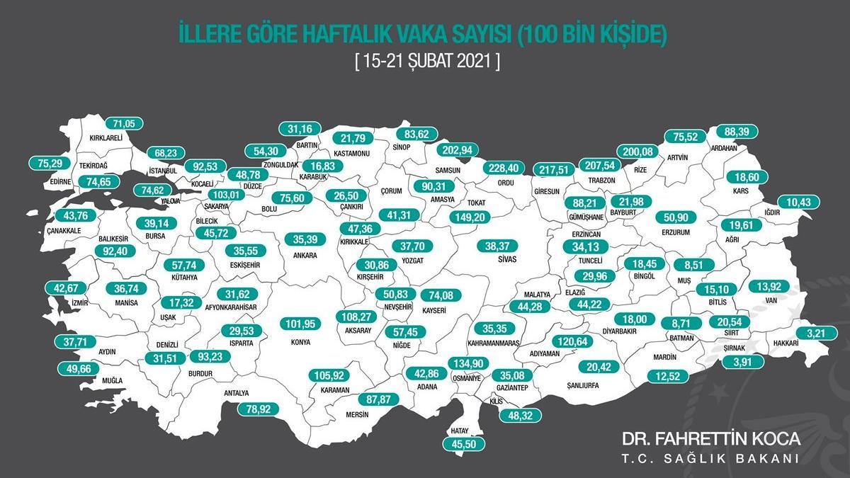 Türkiye'de her 4 vakadan 1'i Karadeniz Bölgesi'nde