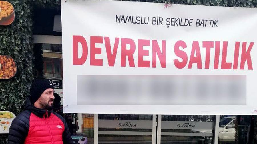 İflas eden vatandaş pankart yaptırdı: Namuslu bir şekilde battık