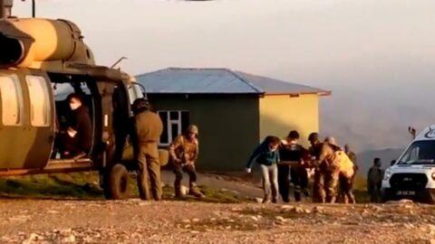 Askeri helikopter çocuk için havalandı