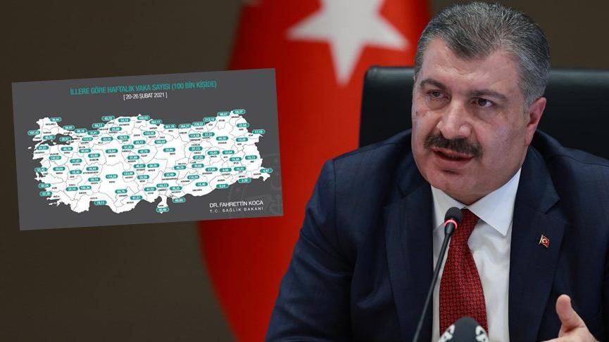 Sağlık Bakanı Fahrettin Koca açıkladı! İşte il il haftalık vaka sayıları