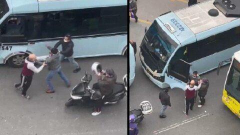 Minibüs şoförlerinin kavgası kamerada
