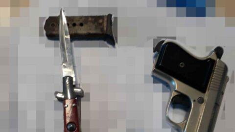 Boşanma davasına tabanca ve bıçakla geldi