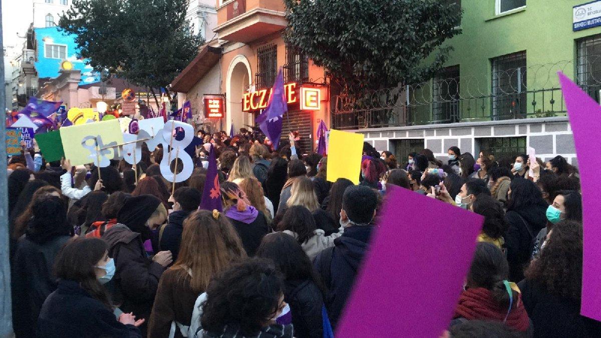 Taksim Meydanı kapatıldı! Kadınlar 8 Mart için Cihangir'de toplandı