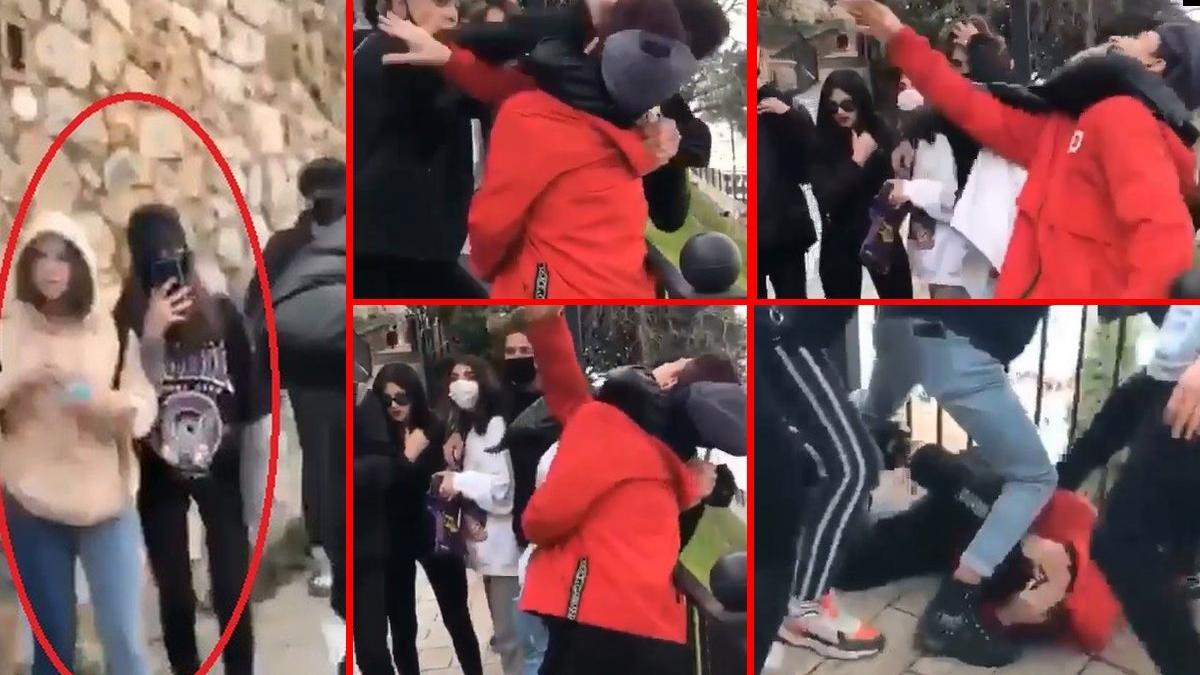 Erkekler kavga etti, kızlar kameraya çekip 'vurun' diye tezahürat yaptı