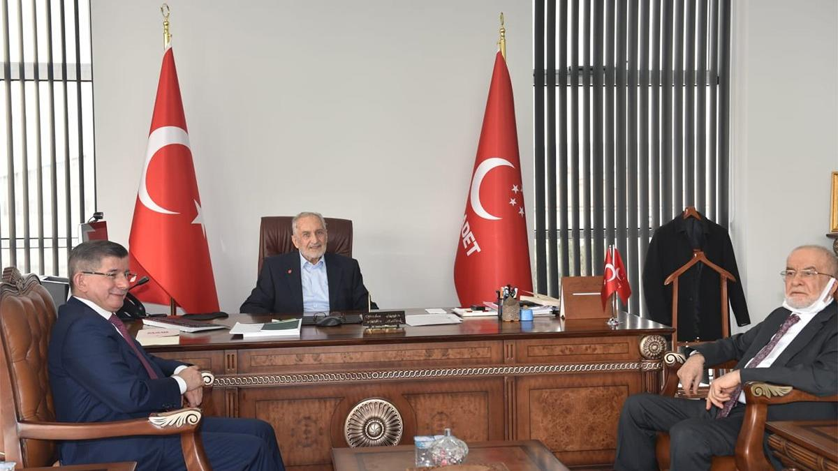 Davutoğlu'ndan Saadet Partisi ziyareti: Asiltürk ve Karamollaoğlu ile görüştü