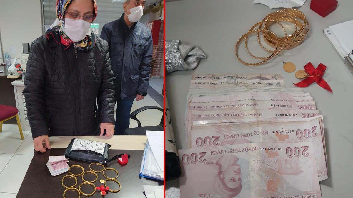 Yolda bulduğu altın ve para dolu çantayı, polise teslim etti