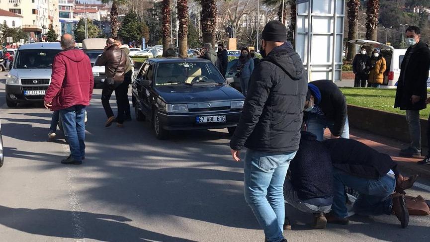 Yaya geçidinde otomobilin çarptığı kadın metrelerce sürüklendi