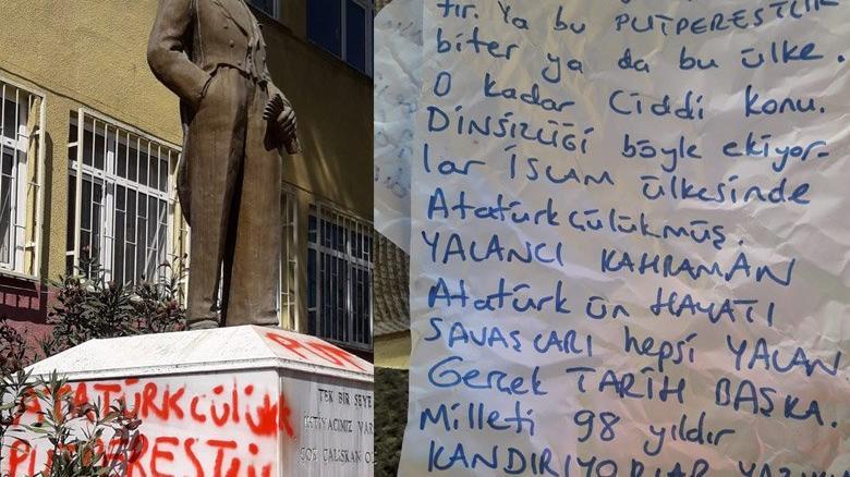 Atatürk büstüne kin dolu saldırı