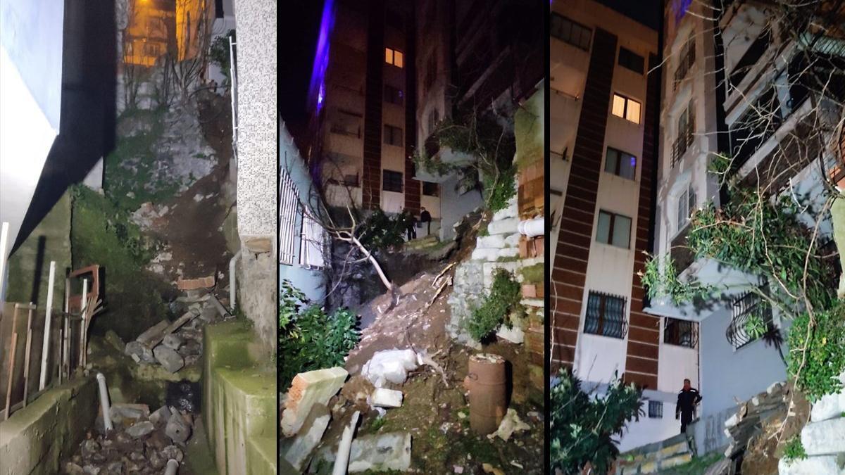 İki bina arasındaki istinat duvarı çöktü, deprem gibi hissedildi