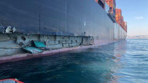 İstanbul'da konteyner gemisi iskeleye çarptı