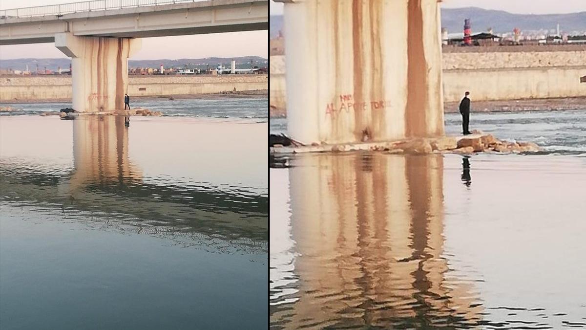 Baraj kapakları açıldı, suyun ortasında mahsur kaldı